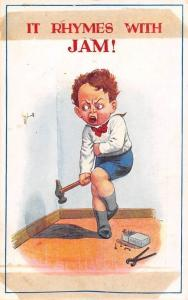 Comic Humour It rhymes with Jam! boy, child, nails, hammer