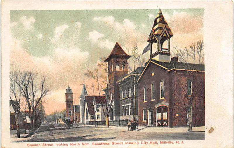 Millville NJ Second Street looking North City Hall Postcard