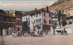 Gunners Parade With H. M. The Late Queen Victoria's Monument, Gibraltar, 1900...