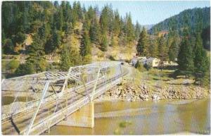 Bridge over Klamath River at Scotts Bar, California, CA, Chrome
