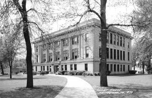Primghar Iowa~Path to Courthouse~Tree w/Full White Blossoms~RPPC c1950 Postcard