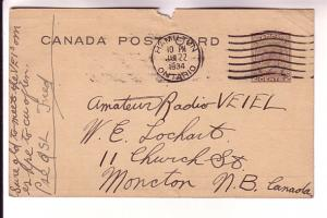 Canadian Postal Stationery George V 2Cent Brown, QSL Moncton New Brunswick