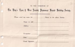 Kings Lynn Norfolk Building Society Antique Share Certificate Ephemera