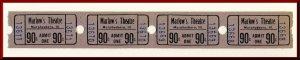 Four .90 Cents Marlow's Movie Theatre Tickets, Murphysboro, Illinois/IL,...