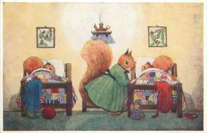 Good night Margaret Tempest Antropomorphic Squirells Medici fantasy postcard