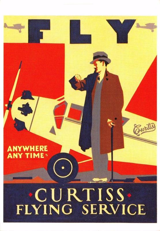 Postcard CURTISS Flying Service Reproduction Advertising Card