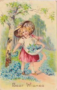 Girls spreads flowers , Best Wishes , PU-1912