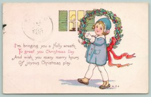 MEP Margaret Evans Price Christmas~Lil Girl In Blue Carries Big Holly Wreath