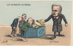 Anti-Jewish; Men (W/ Large noses) Toss bones into Box , Les Retraites Ouvrieres
