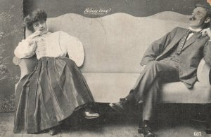 Vintage Postcard 1910 Nothing Doing! Man and Woman Sitting on Sofa