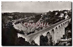 Old Postcard Dinan Emerald Coast Viaduct and general view of the Coulee Rance