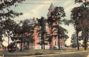 Greenspring Ohio Public School Building Exterior Antique Postcard K25474