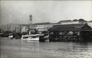 Singapoe? Harbor Docks Boats Real Photo Postcard