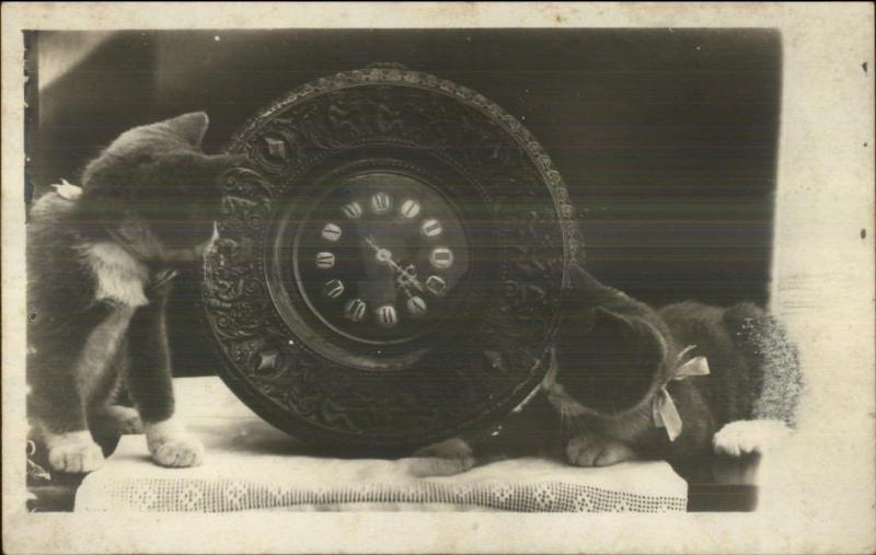 Kittens - Kitty Cats & Wood Carved Old Clock c1910 Real Photo Postcard #1