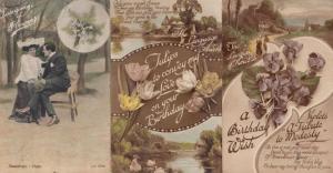 The Language Of Tulips On Your Birthday Iris 3x Antique Postcard s incl WW1