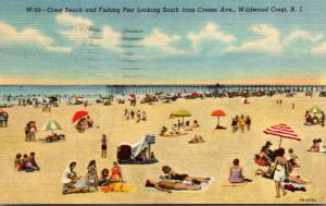New Jersey Wildwood Crest Beach and Fishing Pier Looking South From Cresse Av...