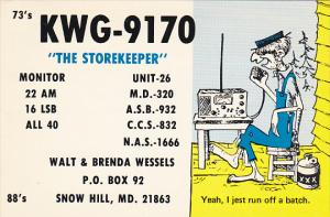 K W G - 9 1 7 0 The Storekeeper Snow Hill Maryland Walt and Brenda Wessels