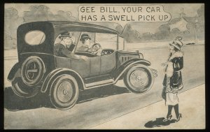 Gee Bill, Your Car Has a Swell Pick Up. 1920's arcade card, old car and flapper
