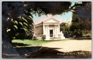 Stanford University~Masuoleum Framed by Trees~Colorized RPPC 1932 Postcard