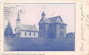 D28/ Justus Ohio Postcard 1906 Sugar Creek Twp High School U.B. Church