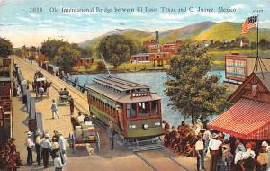 Mexico Old Vintage Antique Post Card Old International Bridge Juarez 1929