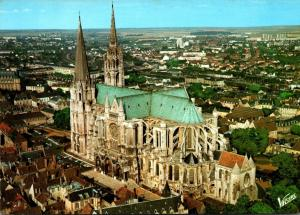 France Chartres Le Cathedrale Aerial View