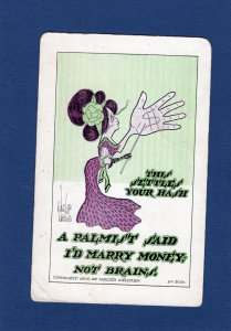 This Settles Your Hash Antique Postcard, Woman With Big Hand, Humor, Cartoon