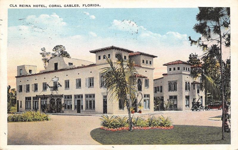 Coral Gables FloridaCla Reina HotelSpanish Revival Architecture Postcard 1923