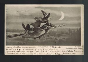 1905 Postcard Cover Halloween Witch Flying on Broomstick with Black Cat Salem