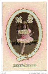 Pretty Little Girl in Swing Flowers Fancy Dress - Best Wishes - Edwardian , 0...