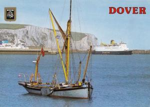 Sealink Ferry passing Fishing Boat at Dover Postcard