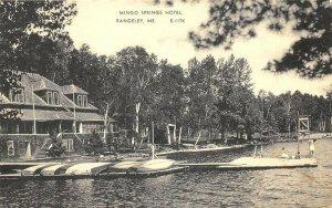 Rangeley ME Mingo Springs Hotel Water Basketball Boats Postcard