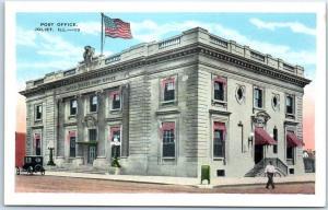 Joliet, Illinois Postcard POST OFFICE Building, Street View Kropp c1930s Unused