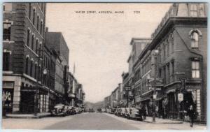 AUGUSTA, Maine  ME     WATER STREET Scene   Business District  ca 1930s Postcard