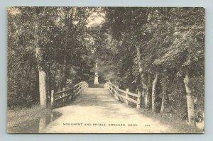 Monument and Bridge Concord Massachusetts Postcard