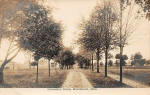 LPS74 Woodstock Ohio Cemetery Drive Postcard RPPC
