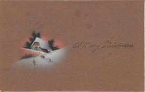 Christmas~Airbrushed Country Farm House on Hill~Brown Back~Gold Letters~Germany