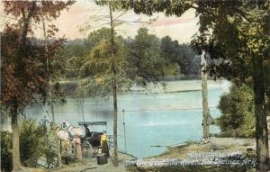 c1910 Postcard Horse & Buggy at Thorntons Ferry on Ouachita River Hot Springs AR