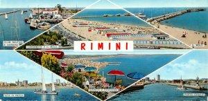 Italy Multi View Postcard, Rimini, Porto Canal, Beach, Boats, Il Milo OS244
