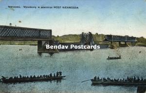 poland, WARSAW WARSZAWA, Blasted Kierbedź Bridge (1915) WWI Feldpost