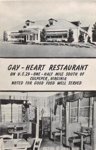 A85/ Culpeper Virginia Va Postcard c1940s Gay-Heart Restaurant 2View Interior