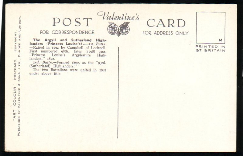 P1514 old unused postcard the argyll & sutherland highlanders relieving sentries