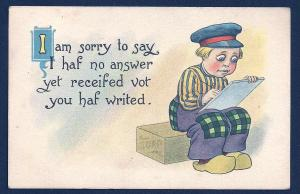 Dutch Boy Writing a Letter used c1914
