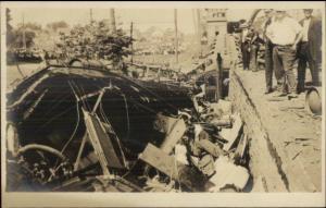 RR Train Wreck - Wallingford or Bridgeport CT Written on Back c1910 RPPC