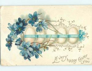 Pre-Linen easter EGGS TIED TOGETHER WITH BLUE RIBBON hr1881