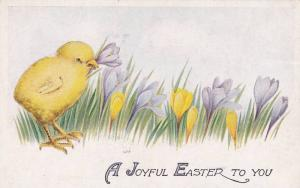A Joyful Easter to you, Chick with flower in beak, purple and yellow flowers ...