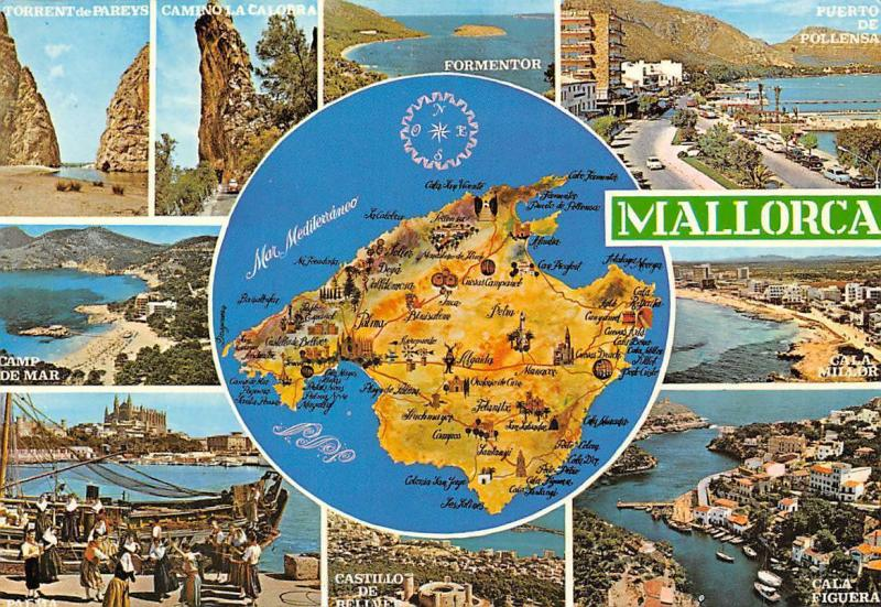 Spain Mallorca Map multiviews Torrent de Pareys Formentor Cala