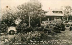 Beaver Lodge Partridge 1920s Shell Lake Wisconsin RPPC Photo Postcard 13174