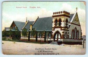 DOUGLAS, AZ Arizona  EPISCOPAL CHURCH- BISBEE HARDWARE RACKET Ad c1910s Postcard