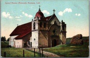 1911 Monterey, California Postcard CARMEL MISSION (Restored) Church / PNC